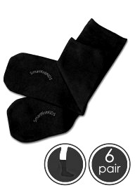 Absolutely Seamless Socks - SmartKnitKIDS ultimate comfort sock - Black - Value 6 Pack